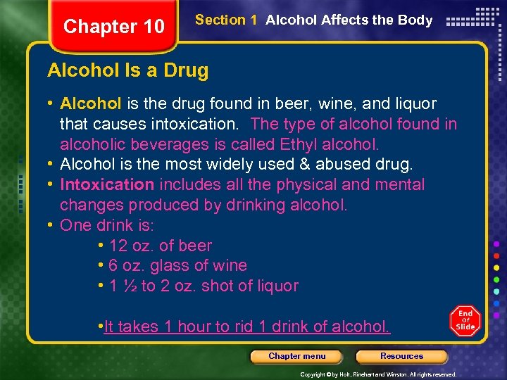 Chapter 10 Section 1 Alcohol Affects the Body Alcohol Is a Drug • Alcohol