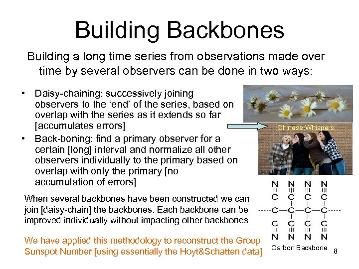 Building Backbones Building a long time series from observations made over time by several