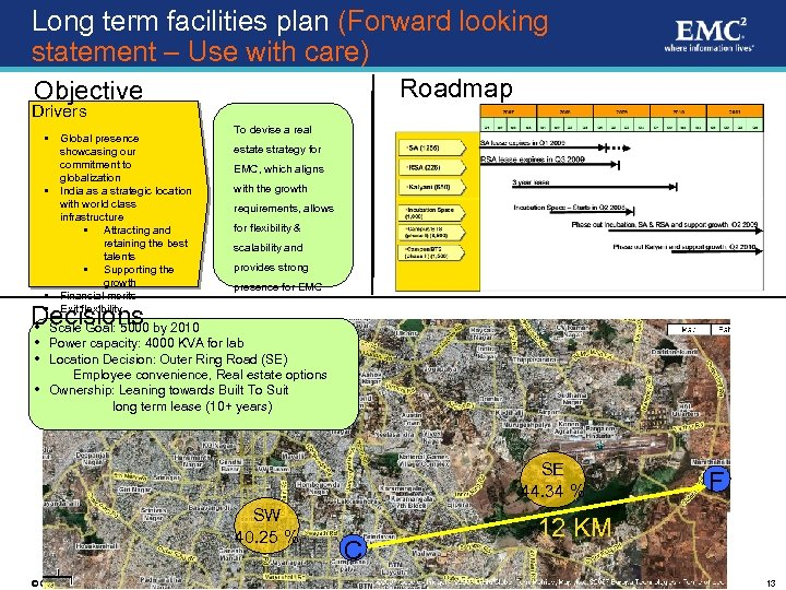 Long term facilities plan (Forward looking statement – Use with care) Roadmap Objective Drivers