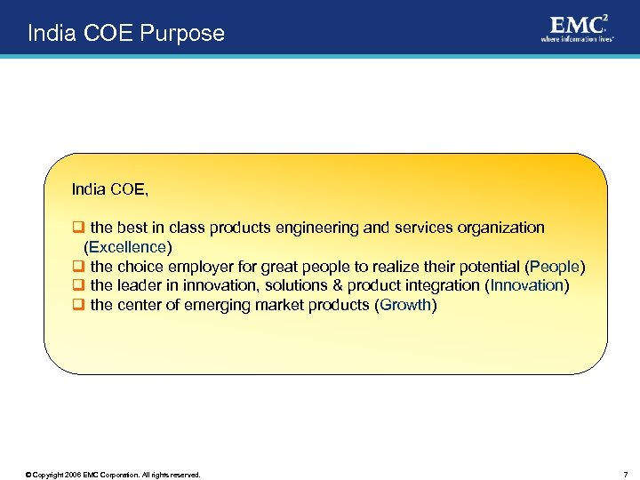 India COE Purpose India COE, q the best in class products engineering and services