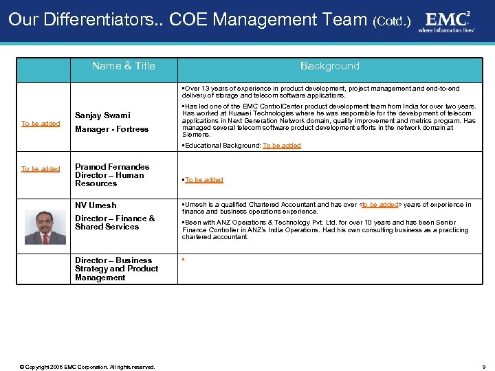 Our Differentiators. . COE Management Team (Cotd. ) Name & Title Background • Over