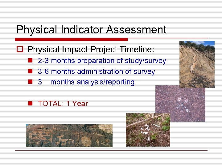 Physical Indicator Assessment o Physical Impact Project Timeline: n 2 -3 months preparation of