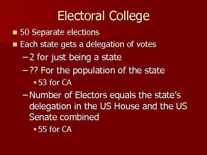 Electoral College 50 Separate elections n Each state gets a delegation of votes n