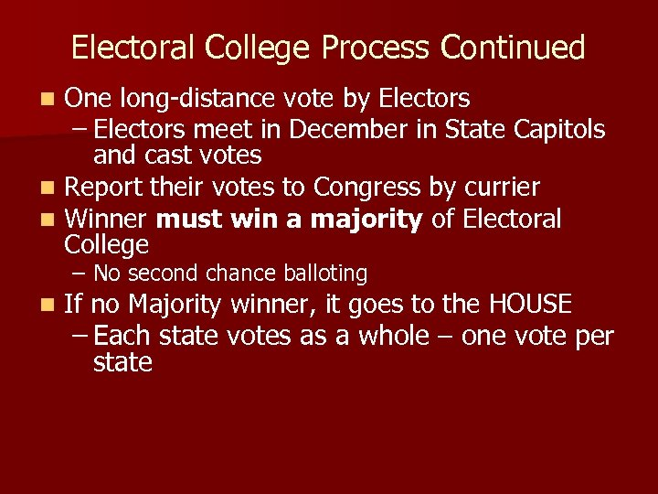 Electoral College Process Continued One long-distance vote by Electors – Electors meet in December