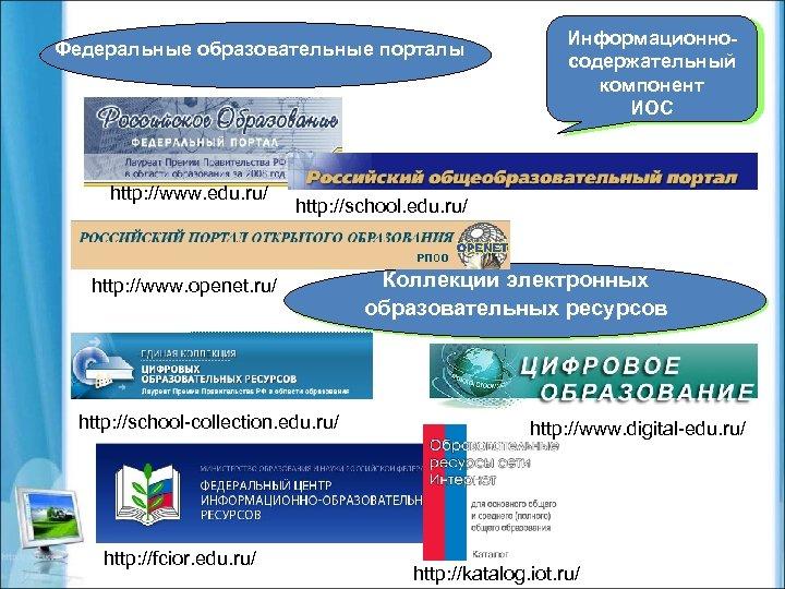 Федеральные образовательные порталы http: //www. edu. ru/ http: //school. edu. ru/ http: //www. openet.