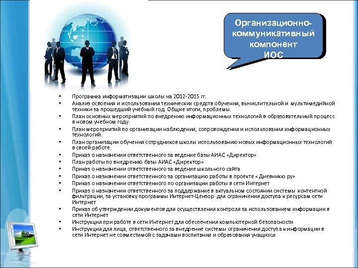 Организационнокоммуникативный компонент ИОС • • • • Программа информатизации школы на 2012 -2015 гг.