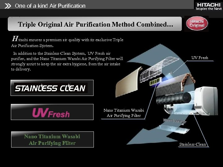 One of a kind Air Purification Triple Original Air Purification Method Combined… Hitachi ensures