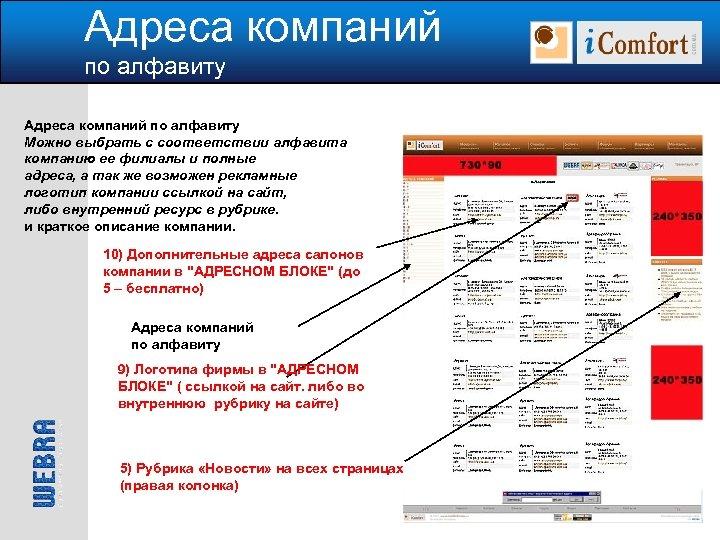 Адреса компаний по алфавиту Можно выбрать с соответствии алфавита компанию ее филиалы и полные