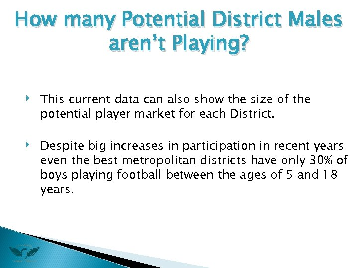 How many Potential District Males aren't Playing? ‣ ‣ This current data can also