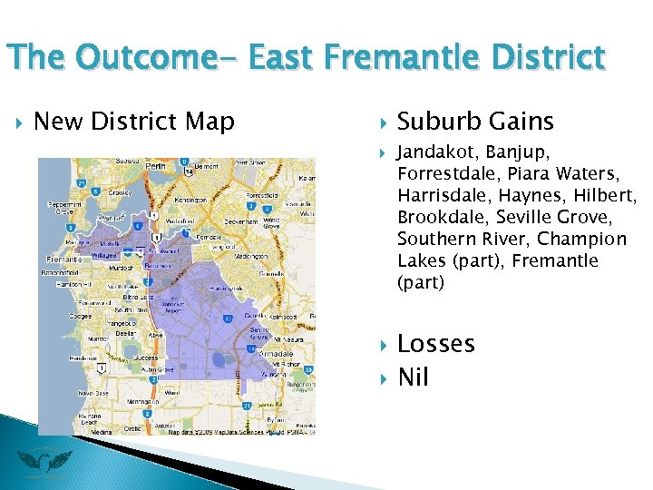 The Outcome- East Fremantle District New District Map Suburb Gains Jandakot, Banjup, Forrestdale, Piara