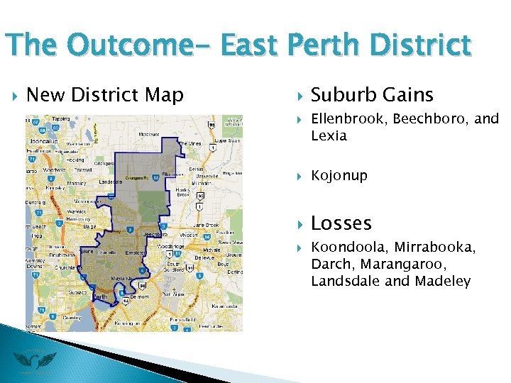 The Outcome- East Perth District New District Map Suburb Gains Ellenbrook, Beechboro, and Lexia