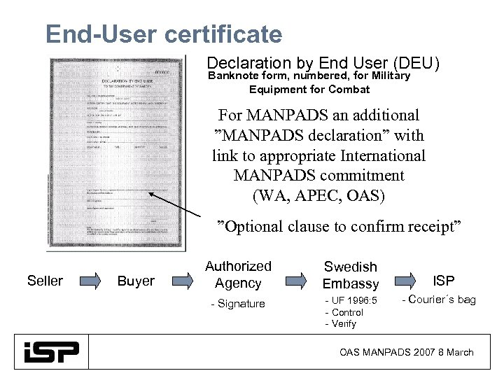End-User certificate Declaration by End User (DEU) Banknote form, numbered, for Military Equipment for
