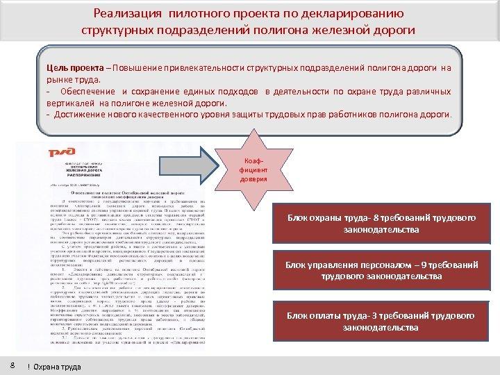 Реализация пилотного проекта по декларированию структурных подразделений полигона железной дороги Цель проекта – Повышение