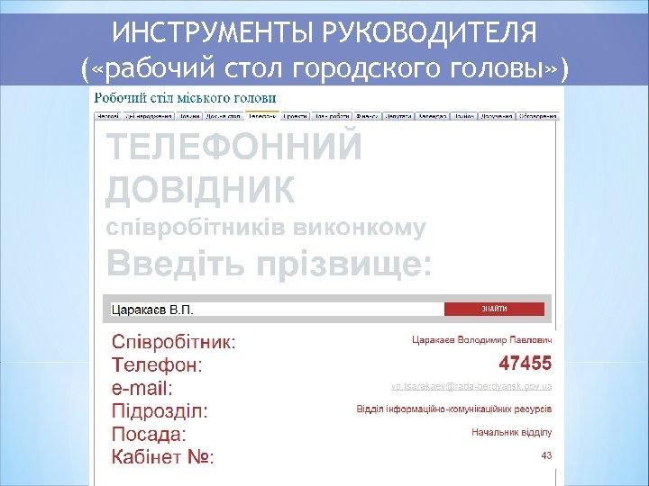 ИНСТРУМЕНТЫ РУКОВОДИТЕЛЯ ( «рабочий стол городского головы» )