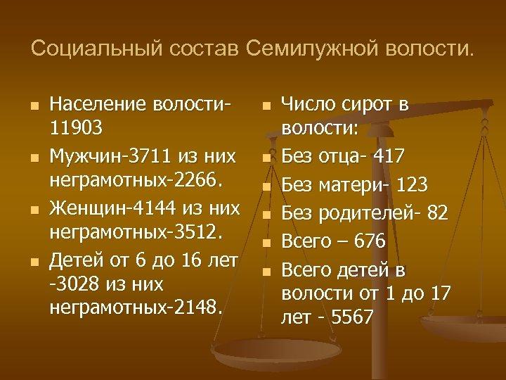 Социальный состав Семилужной волости. n n Население волости 11903 Мужчин-3711 из них неграмотных-2266. Женщин-4144