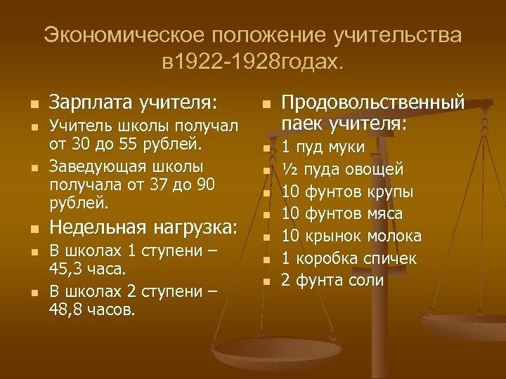 Экономическое положение учительства в 1922 -1928 годах. n n n Зарплата учителя: Учитель школы
