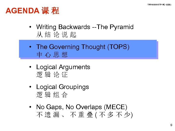 TRPA 000615 TP-RC-1(GB) AGENDA 课 程 • Writing Backwards --The Pyramid 从结论说起 • The