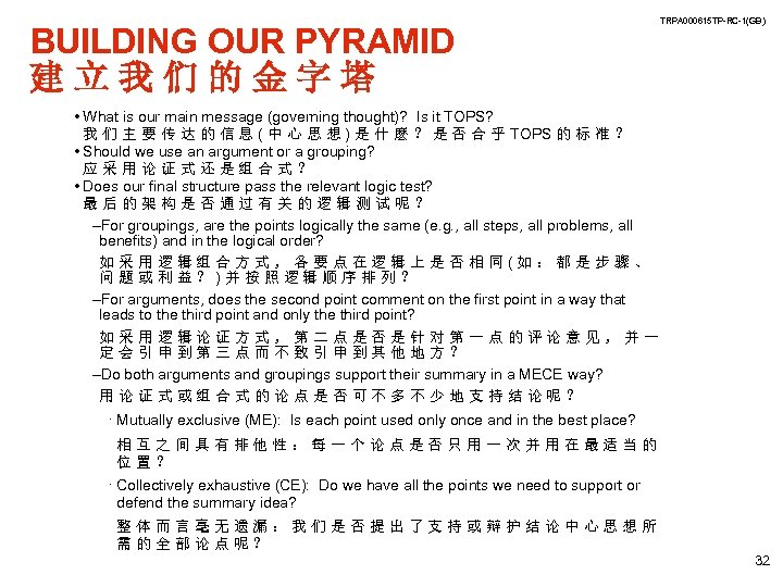 BUILDING OUR PYRAMID 建立我们的金字塔 TRPA 000615 TP-RC-1(GB) • What is our main message (governing