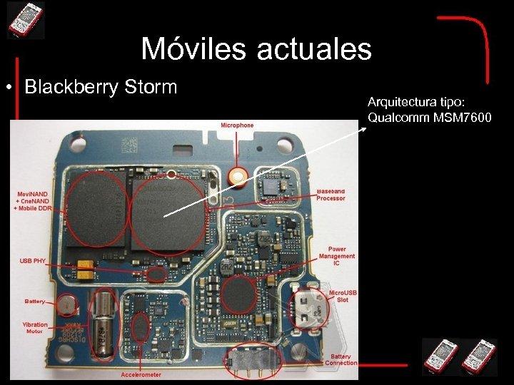 Móviles actuales • Blackberry Storm Arquitectura tipo: Qualcomm MSM 7600