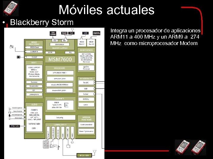 Móviles actuales • Blackberry Storm Integra un procesador de aplicaciones ARM 11 a 400