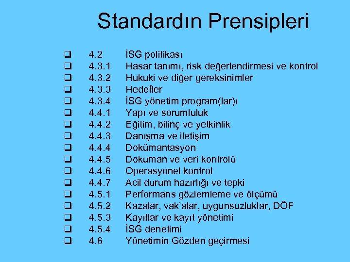 Standardın Prensipleri q q q q q 4. 2 4. 3. 1 4. 3.