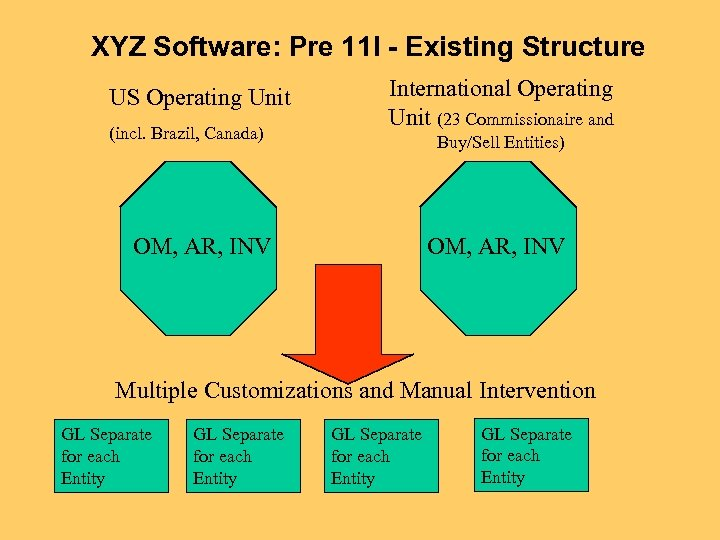 XYZ Software: Pre 11 I - Existing Structure US Operating Unit (incl. Brazil, Canada)