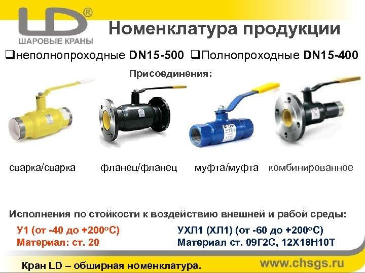 Номенклатура продукции qнеполнопроходные DN 15 -500 q. Полнопроходные DN 15 -400 Присоединения: сварка/сварка фланец/фланец