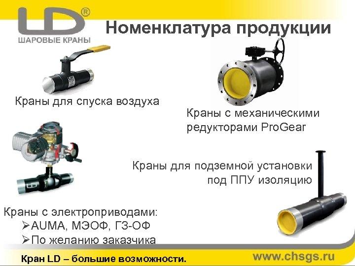 Номенклатура продукции Краны для спуска воздуха Краны с механическими редукторами Pro. Gear Краны для
