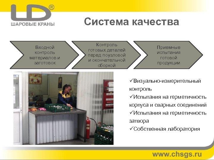 Система качества Входной контроль материалов и заготовок Контроль готовых деталей перед поузловой и окончательной