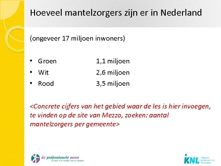 Hoeveel mantelzorgers zijn er in Nederland (ongeveer 17 miljoen inwoners) • Groen 1, 1