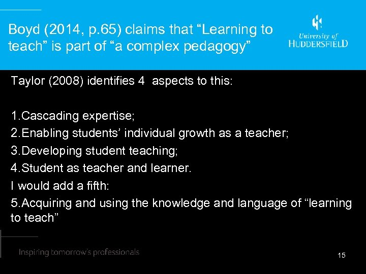 """Boyd (2014, p. 65) claims that """"Learning to teach"""" is part of """"a complex"""