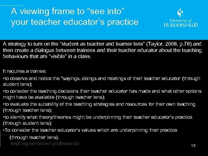 """A viewing frame to """"see into"""" your teacher educator's practice A strategy to turn"""