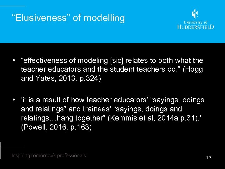 """""""Elusiveness"""" of modelling • """"effectiveness of modeling [sic] relates to both what the teacher"""