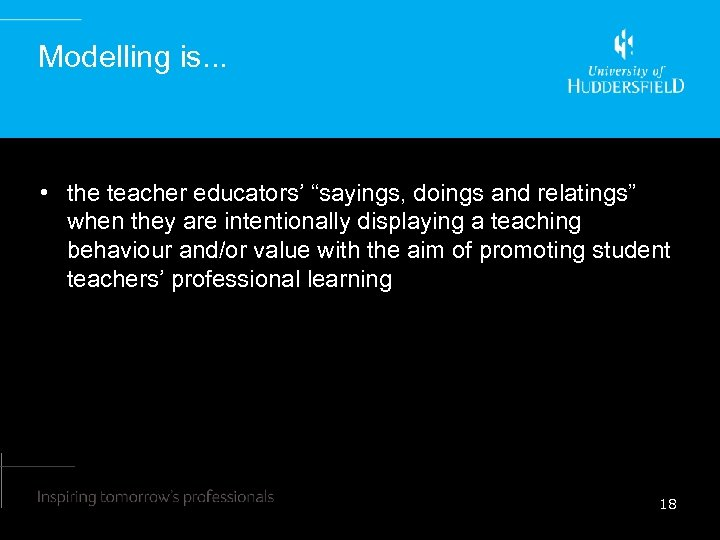 """Modelling is. . . • the teacher educators' """"sayings, doings and relatings"""" when they"""
