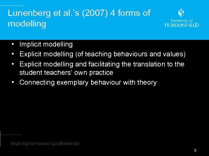 Lunenberg et al. 's (2007) 4 forms of modelling • Implicit modelling • Explicit