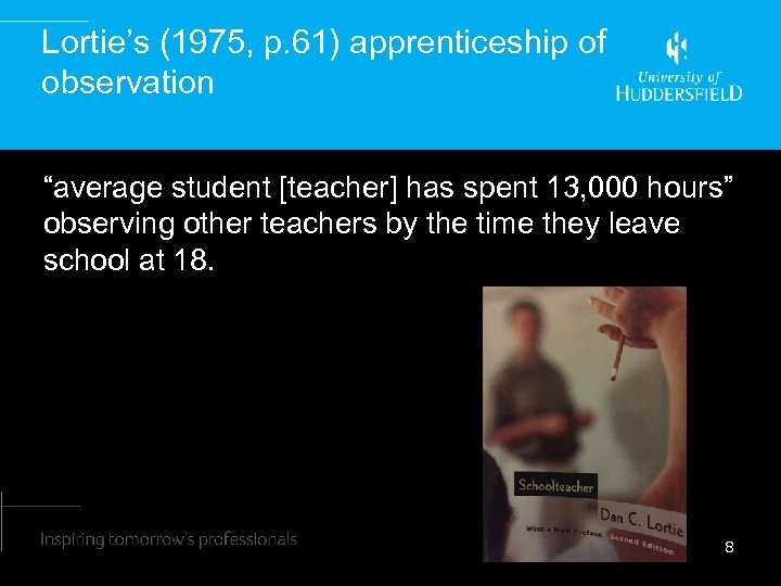 "Lortie's (1975, p. 61) apprenticeship of observation ""average student [teacher] has spent 13, 000"