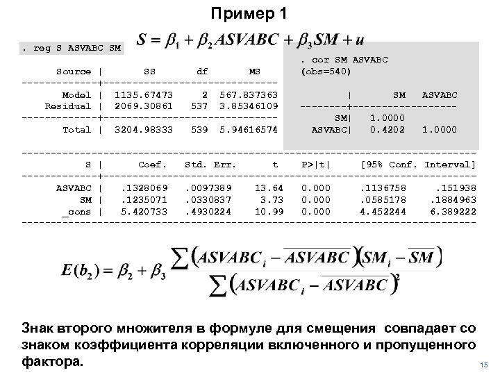 Пример 1. reg S ASVABC SM Source | SS df MS -------+---------------Model | 1135.