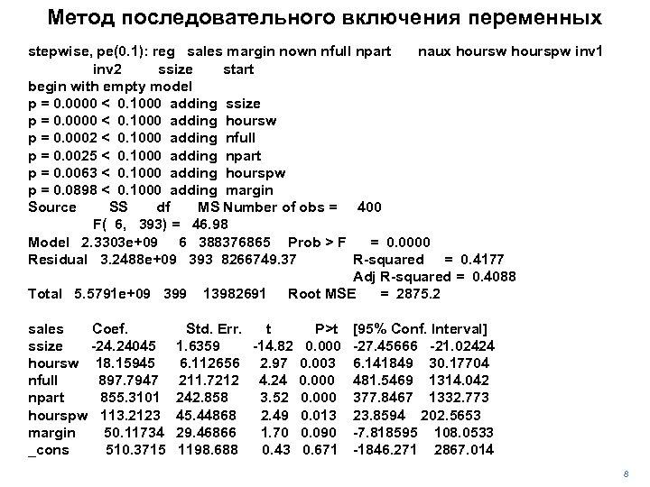 Метод последовательного включения переменных stepwise, pe(0. 1): reg sales margin nown nfull npart naux
