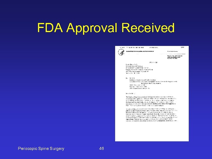FDA Approval Received Periscopic Spine Surgery 46
