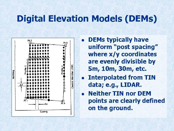 "Digital Elevation Models (DEMs) l l l DEMs typically have uniform ""post spacing"" where"