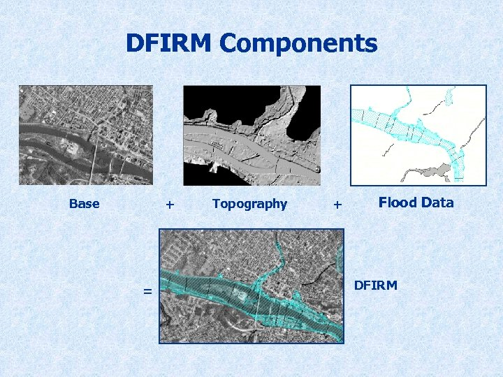 DFIRM Components Base + = Topography + Flood Data DFIRM