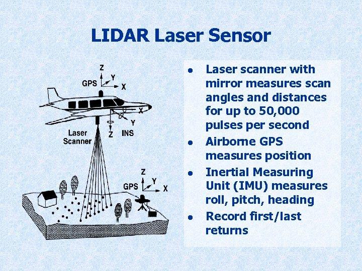 LIDAR Laser Sensor l l Laser scanner with mirror measures scan angles and distances