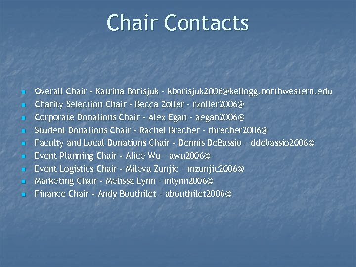 Chair Contacts n n n n n Overall Chair - Katrina Borisjuk – kborisjuk