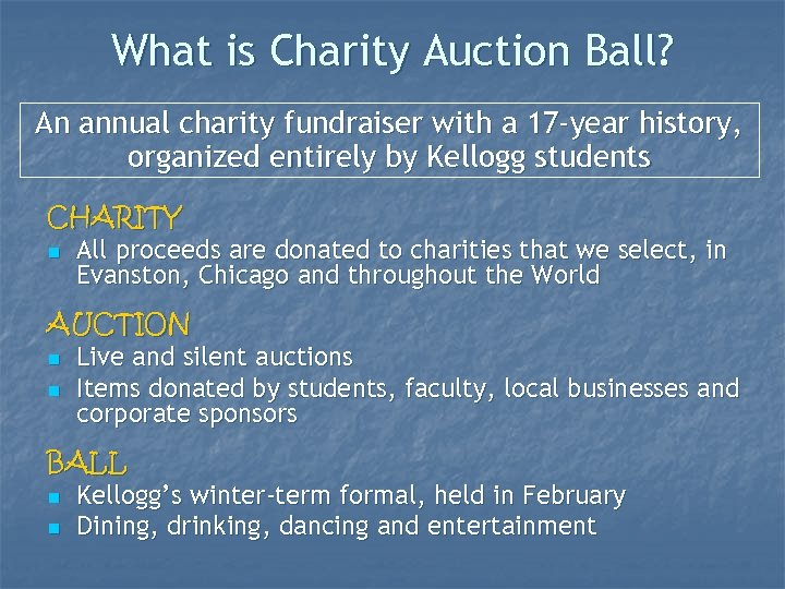 What is Charity Auction Ball? An annual charity fundraiser with a 17 -year history,