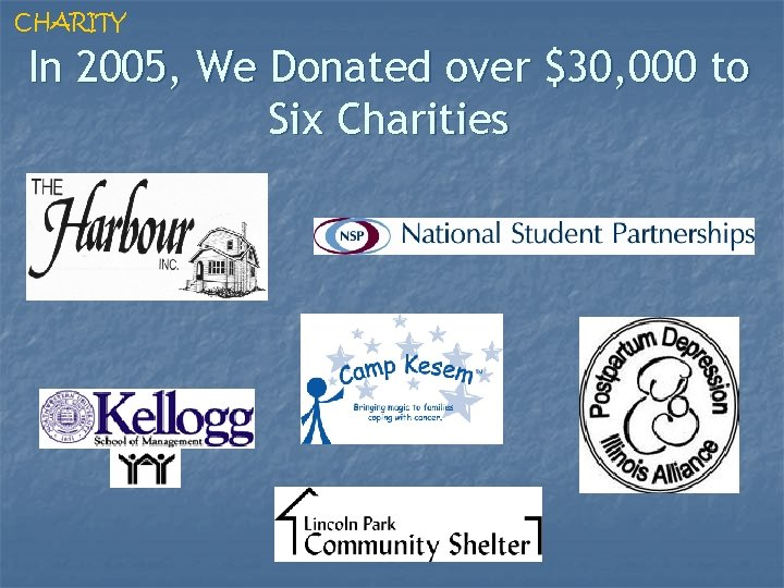 CHARITY In 2005, We Donated over $30, 000 to Six Charities