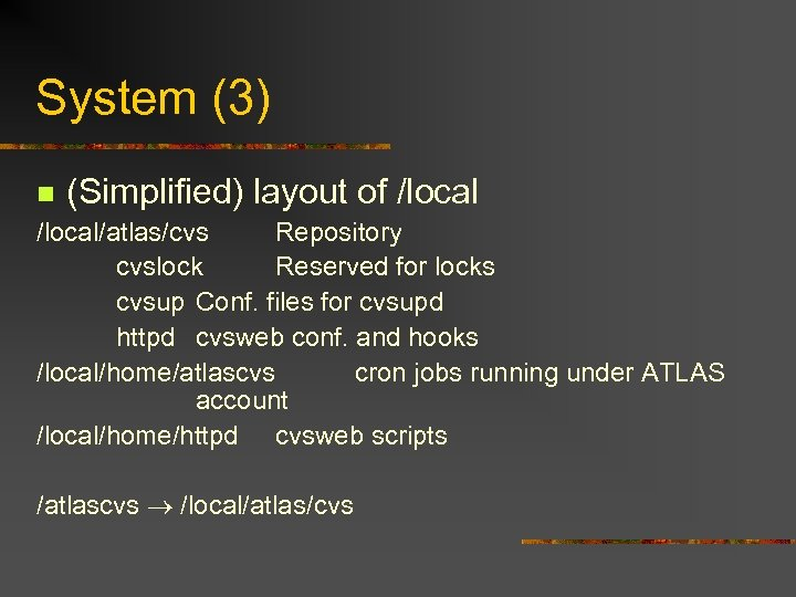 System (3) n (Simplified) layout of /local/atlas/cvs Repository cvslock Reserved for locks cvsup Conf.