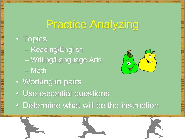 Practice Analyzing • Topics – Reading/English – Writing/Language Arts – Math • • •