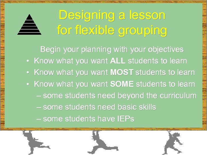 Designing a lesson for flexible grouping Begin your planning with your objectives • Know