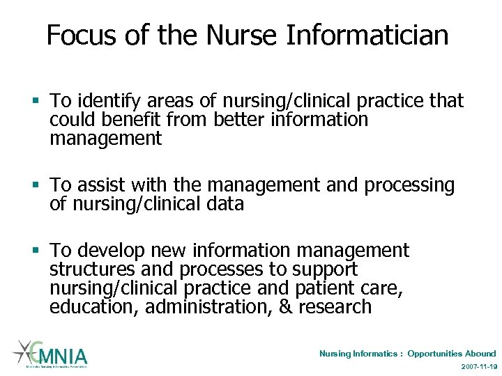 Focus of the Nurse Informatician § To identify areas of nursing/clinical practice that could