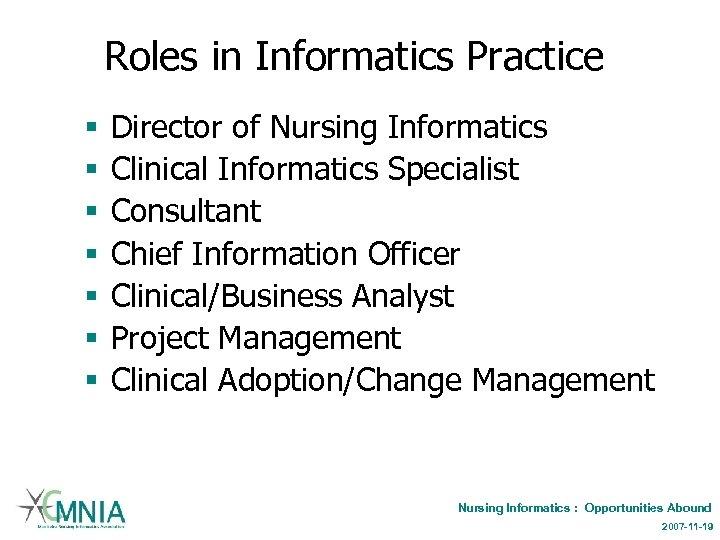 Roles in Informatics Practice § § § § Director of Nursing Informatics Clinical Informatics